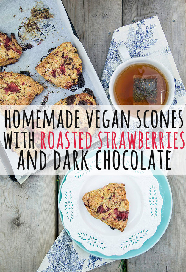 Delicious Homemade Scones With Strawberries And Dark Chocolate