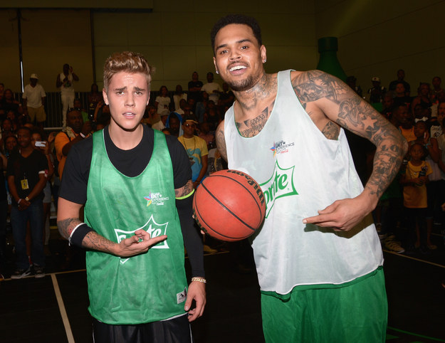 Chris Brown And Justin Bieber Play In A Celebrity Basketball Game