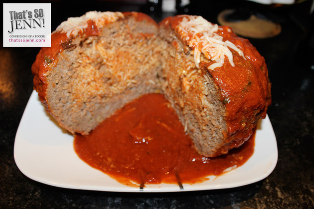 Someone Made An Enormous Meatball Stuffed With Spaghetti And It's Beautiful