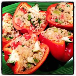 MyPlate Recipes: Vegetarian Stuffed Red Bell Peppers