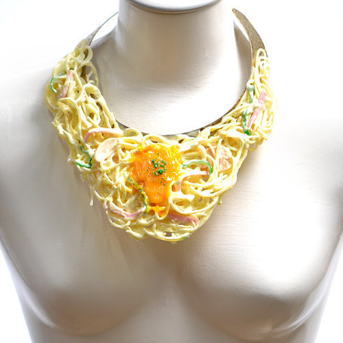 You Can Wear Spaghetti Carbonara As A Necklace Now